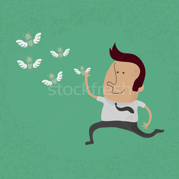 happy man hunting flying money  , eps10 vector format Stock photo © ratch0013