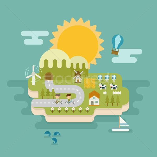 eco green concept , flat design Stock photo © ratch0013