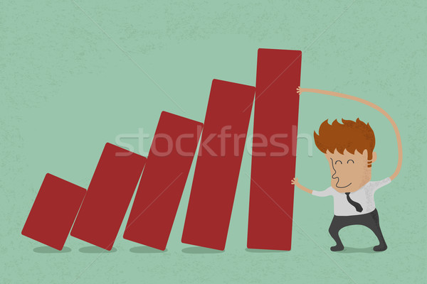 business man pushing bar graph  , eps10 vector format Stock photo © ratch0013
