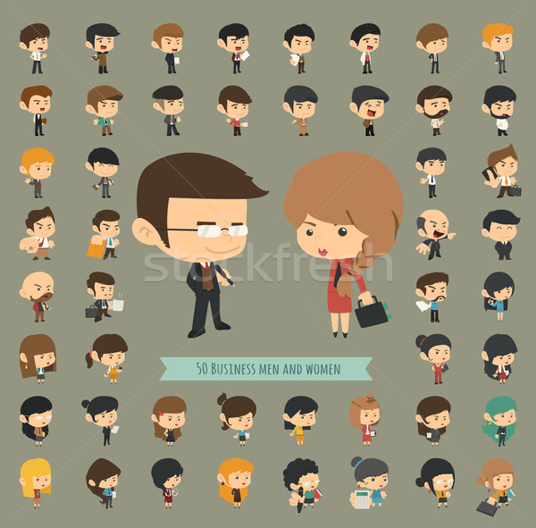Set of 50 business men and women Stock photo © ratch0013