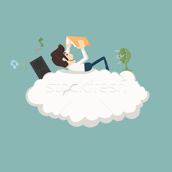 Businessman resting on a cloud Stock photo © ratch0013