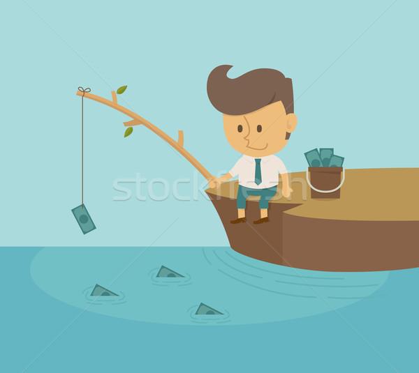 Foto stock: Empresario · pesca · dólar · eps10 · vector · formato