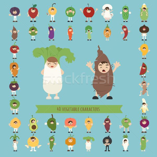 Szett 40 zöldség jelmez betűk eps10 Stock fotó © ratch0013
