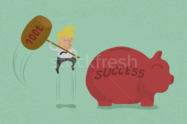 Businessman with hammer about to smash piggy bank to success , e Stock photo © ratch0013