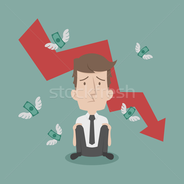 Businessman fail and money flying Stock photo © ratch0013