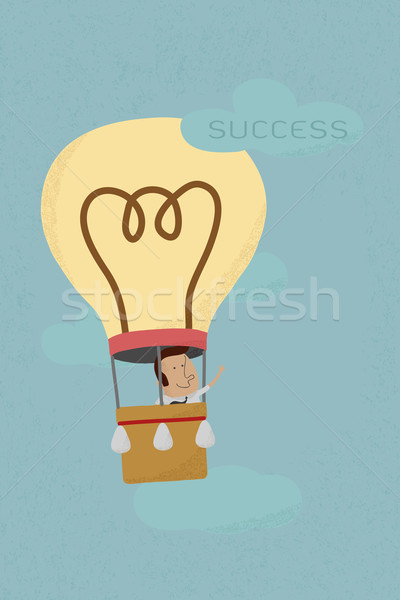 Businessman success from his own balloon idea , eps10 vector for Stock photo © ratch0013