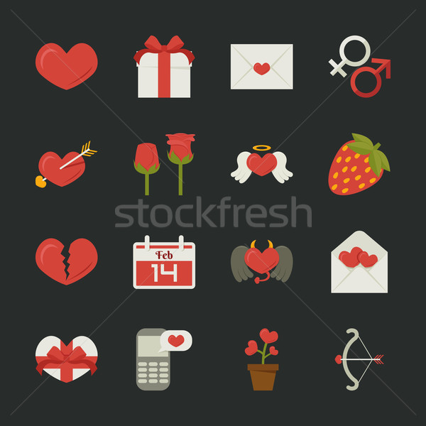 Valentine's day icons, love symbols  , flat design Stock photo © ratch0013