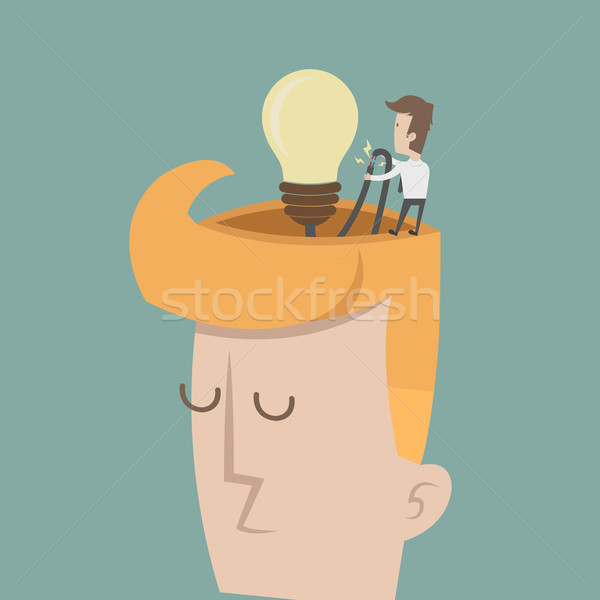Stock photo: Businessman spark idea