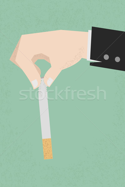 Stop smoking, human hands breaking the cigarette  , eps10 vector Stock photo © ratch0013