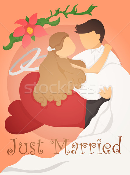 Just married wedding invitation card design Stock photo © ratch0013