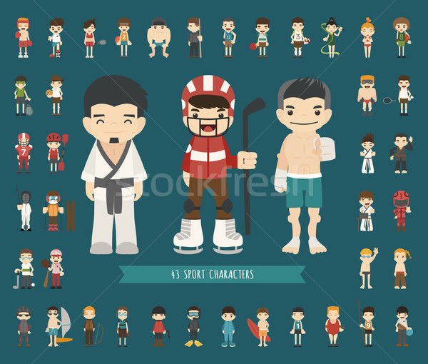 Stock photo: Set of 43 Sport characters