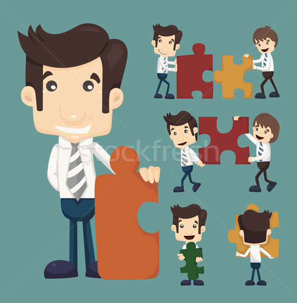 Set of businessman holding up jigsaw puzzle pieces as a solution Stock photo © ratch0013