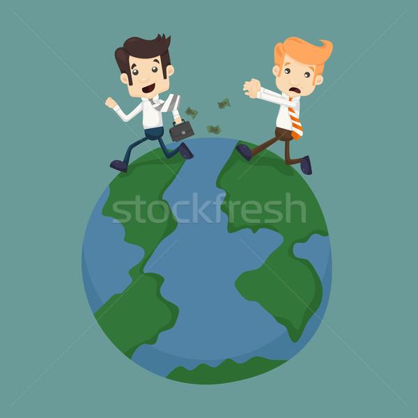 üzlet fut körül világ eps10 vektor Stock fotó © ratch0013