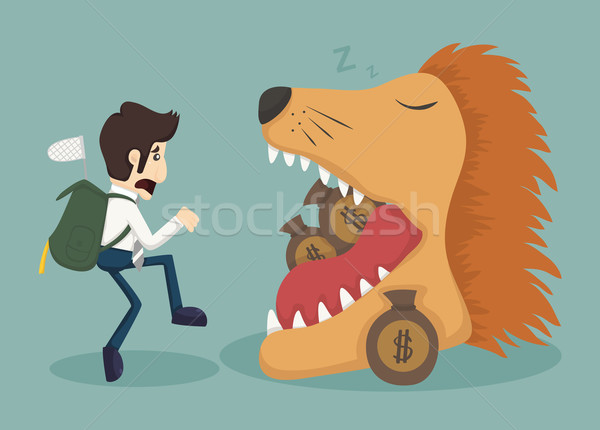 Businessman steal money from lion Stock photo © ratch0013