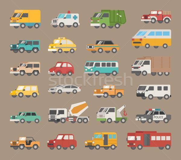 Szett autó ikon gyűjtemény ikon eps10 vektor Stock fotó © ratch0013