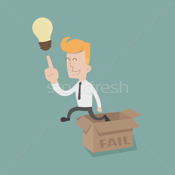 Businessman thinking outside the box Stock photo © ratch0013