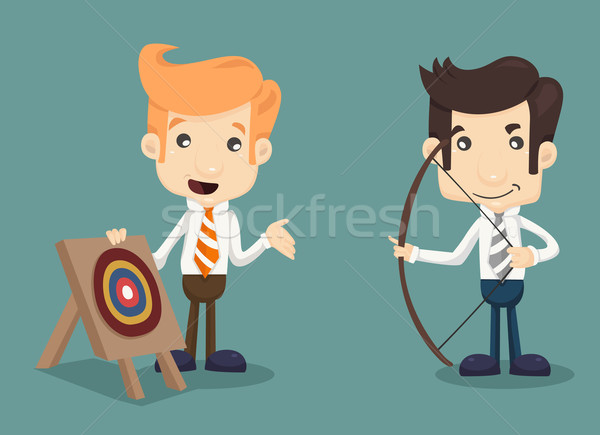 Businessman aiming at target with bow and arrow Stock photo © ratch0013