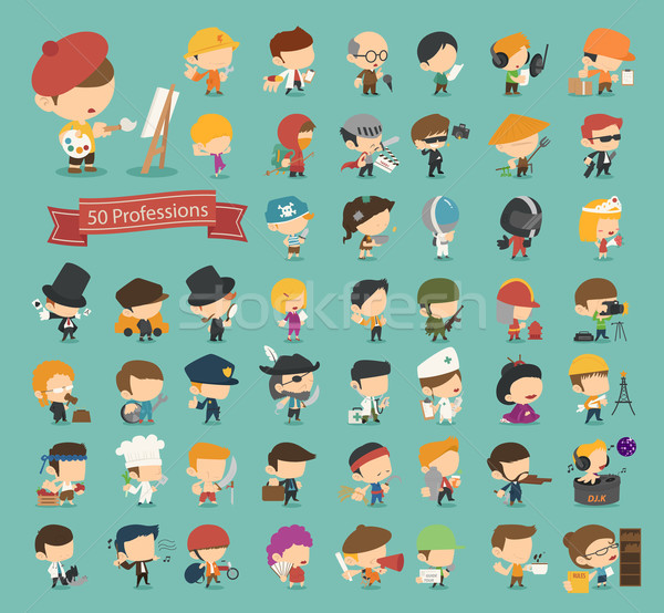 Set of 50 professions  Stock photo © ratch0013