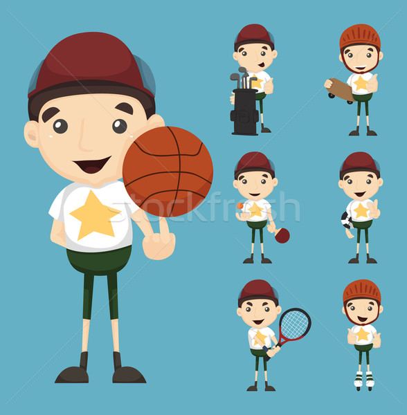 Set of boy and sport  Stock photo © ratch0013