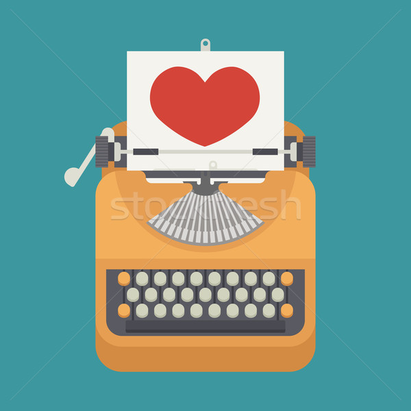 Vintage typewriter and red heart on paper sheet   Stock photo © ratch0013