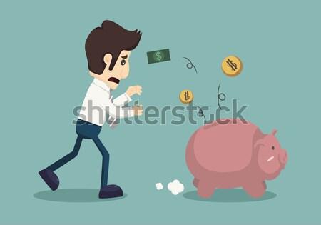 Ladrón alcancía eps10 vector formato dinero Foto stock © ratch0013