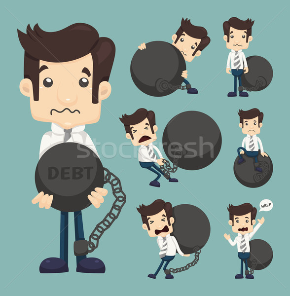 Set of businessman burden with Debt Stock photo © ratch0013