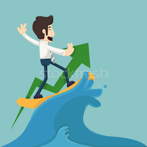 Businessman surfing on wave Stock photo © ratch0013