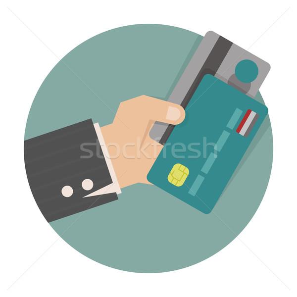üzletember kéz tart hitelkártya eps10 vektor Stock fotó © ratch0013