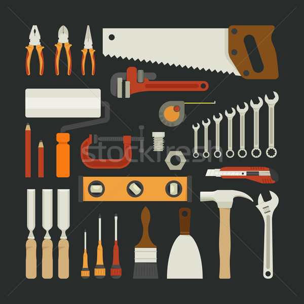 Hand tools icon set , flat design Stock photo © ratch0013