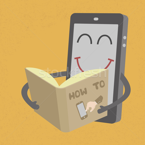 Smartphone read book  , eps10 vector format Stock photo © ratch0013