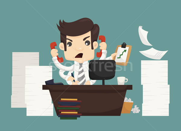 Businessman work hard and busy Stock photo © ratch0013