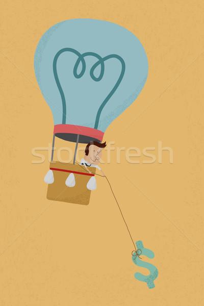 üzletember léggömb ötlet pénz eps10 vektor Stock fotó © ratch0013