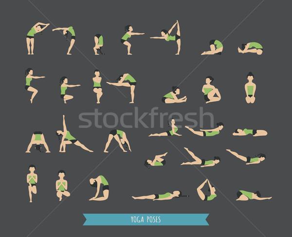 Stockfoto: Ingesteld · yoga · eps10 · vector · formaat · ontwerp