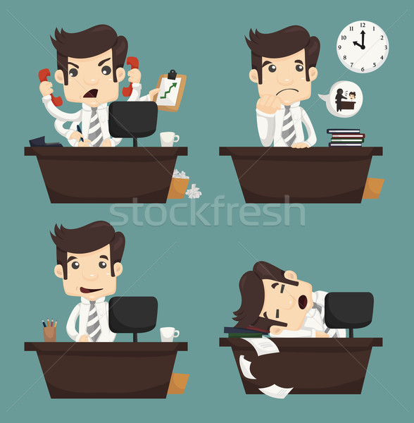 Set of businessman sitting on desk , office worker Stock photo © ratch0013