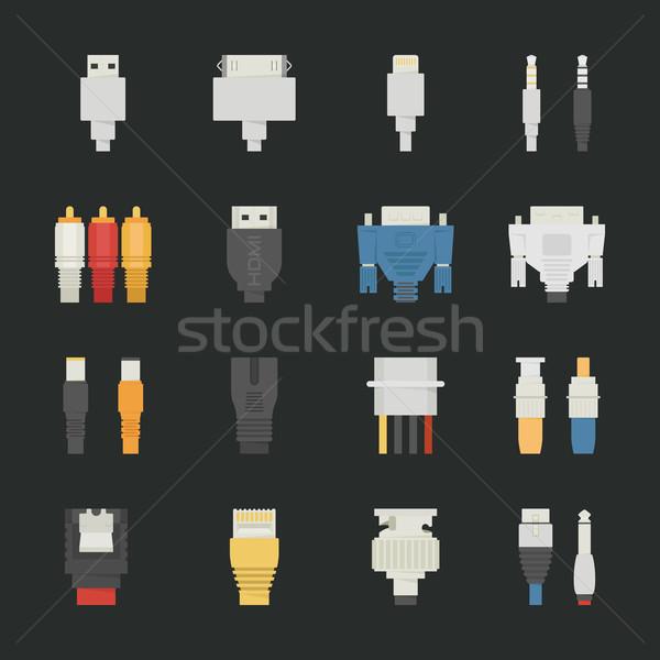Cabo arame ícones do computador preto eps10 vetor Foto stock © ratch0013