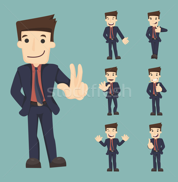 Set of businessman characters poses Stock photo © ratch0013