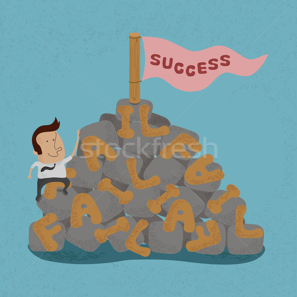 Businessman moving over the Failure go to success , symbolizing  Stock photo © ratch0013