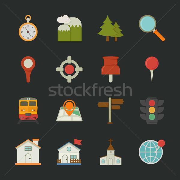 Stockfoto: Kaart · iconen · plaats · ontwerp · eps10 · vector