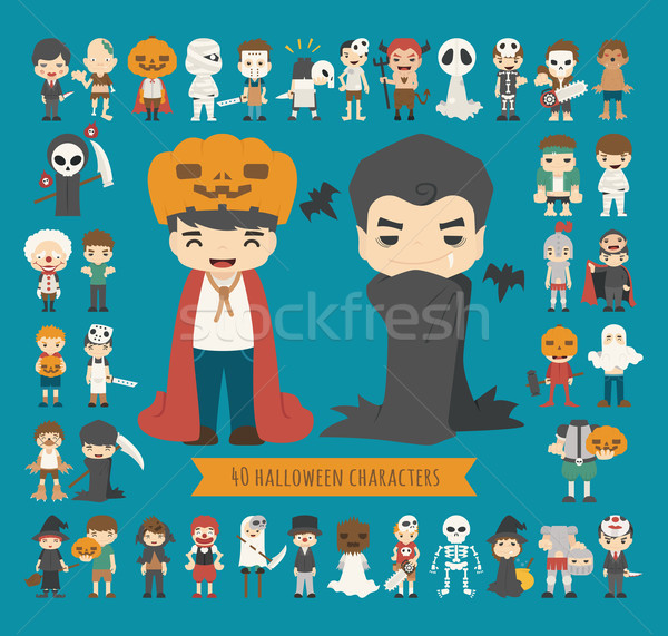 Set of 40 halloween costume characters Stock photo © ratch0013