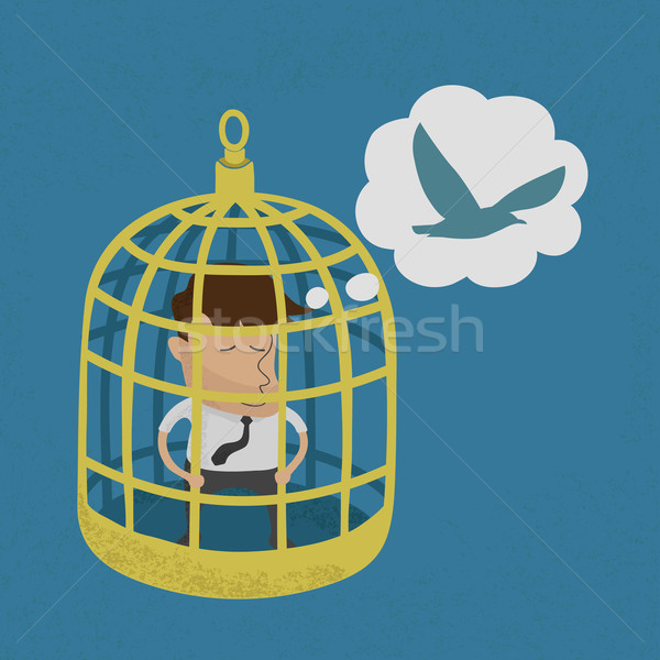 Business man in golden bird cage , eps10 vector format Stock photo © ratch0013
