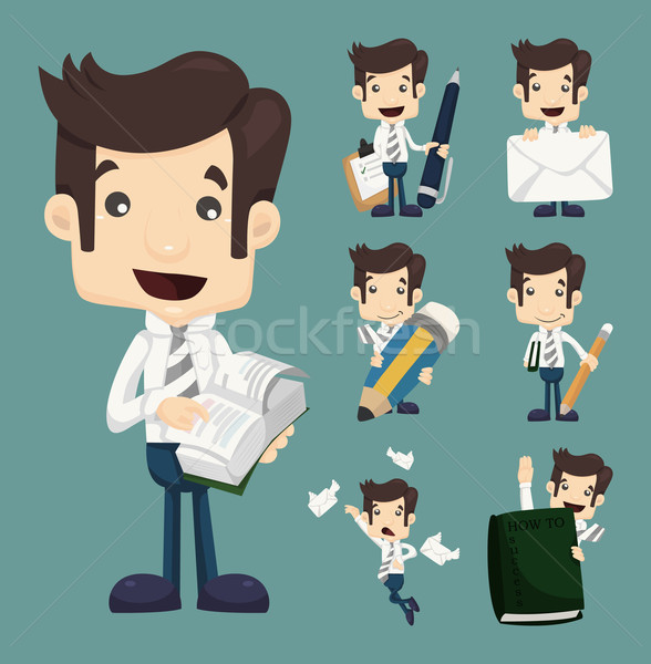 Set of businessman characters poses , office worker  Stock photo © ratch0013