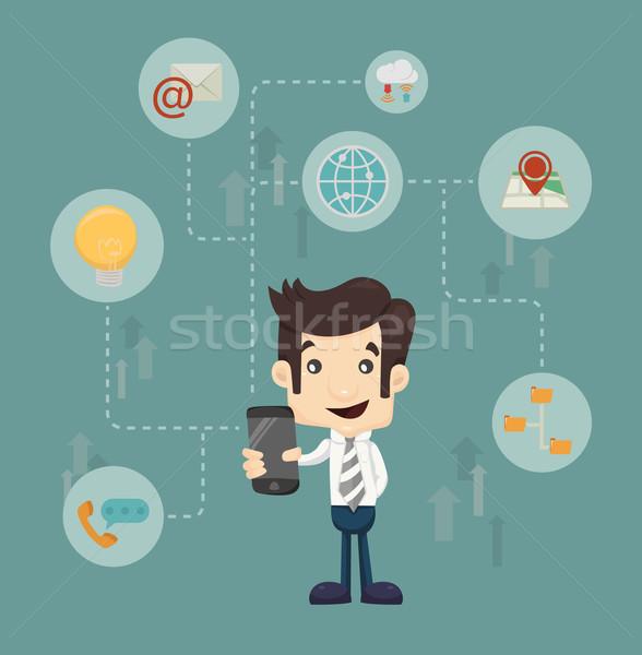 Businessman communication technology Stock photo © ratch0013