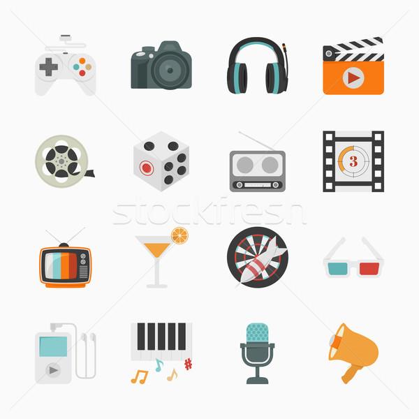 Entretenimiento iconos blanco eps10 vector formato Foto stock © ratch0013