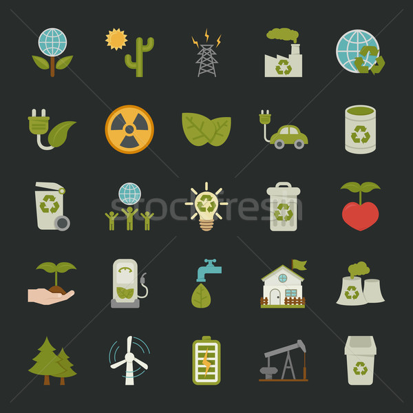 Green eco icons set , Stock photo © ratch0013