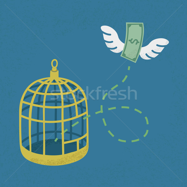 Money flying out of cage birds , Financial independence , eps10  Stock photo © ratch0013