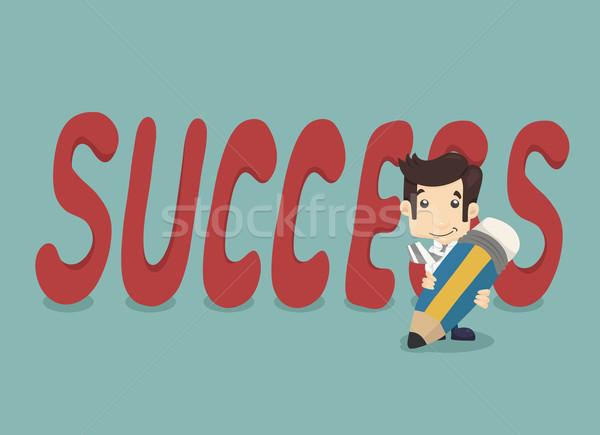 Affaires crayon écrit succès eps10 vecteur Photo stock © ratch0013