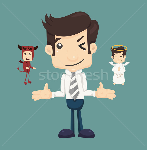 Businessman wills with devil and an angel Stock photo © ratch0013