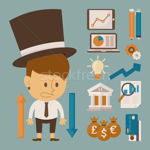 Businessman and tool character , flat design Stock photo © ratch0013