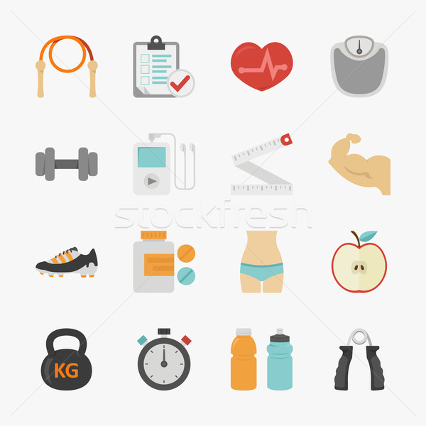 Stock photo: Fitness and health icons with white background