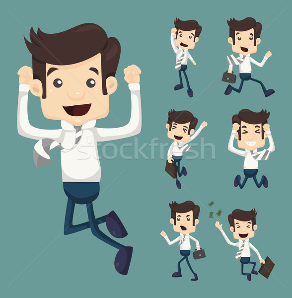 Set of businessman leaping characters poses  Stock photo © ratch0013
